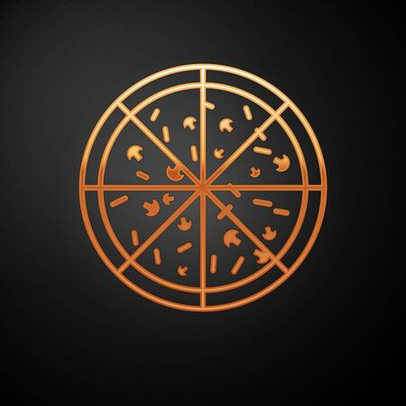 Gold Pizza icon isolated on black background. Vector Illustration