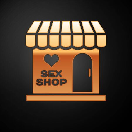 Gold Sex shop building with striped awning icon isolated on black background. Sex shop, online sex store, adult erotic products concept. Vector Illustration