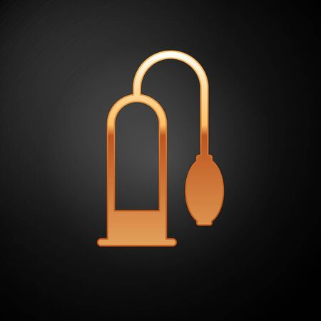 Gold Penis pump icon isolated on black background. Penis enlarger. Sex toy for men. Vacuum pump with a blower to increase the penis. Vector Illustration