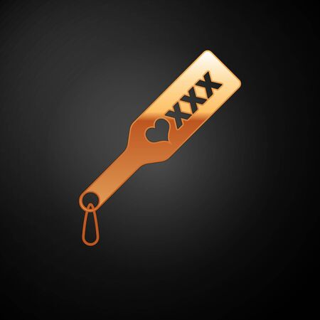 Gold Spanking paddle icon isolated on black background. Fetish accessory. Sex toy for adult. Vector Illustration