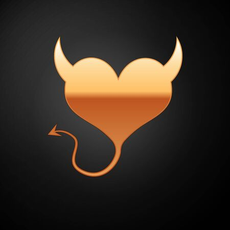 Gold Devil heart with horns and a tail icon isolated on black background. Valentines Day symbol. Vector Illustration