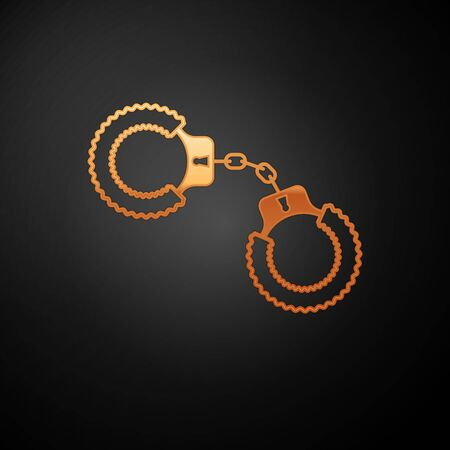 Gold Sexy fluffy handcuffs icon isolated on black background. Handcuffs with fur. Fetish accessory. Sex shop stuff for sadist and masochist. Vector Illustration