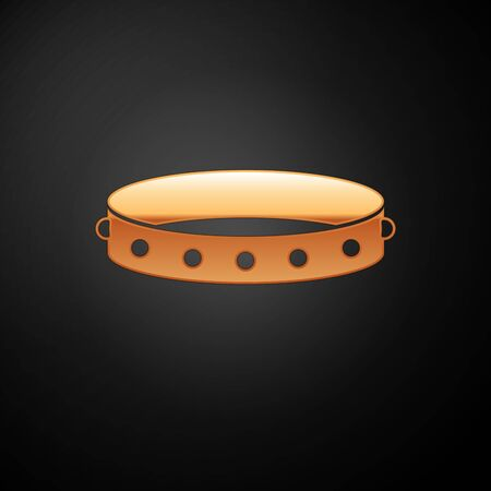 Collier en cuir doré avec pointes métalliques sur l'icône de surface isolée sur fond noir. Accessoire fétiche. Jouet sexuel pour homme et femme. Illustration vectorielle