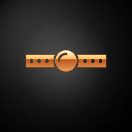 Gold Silicone ball gag with a leather belt icon isolated on black background. Fetish accessory. Sex toy for men and woman. Vector Illustration