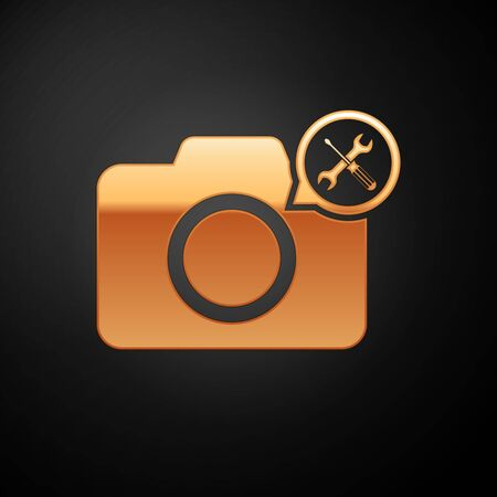 Gold Photo camera with screwdriver and wrench icon isolated on black background. Adjusting, service, setting, maintenance, repair, fixing. Vector Illustration
