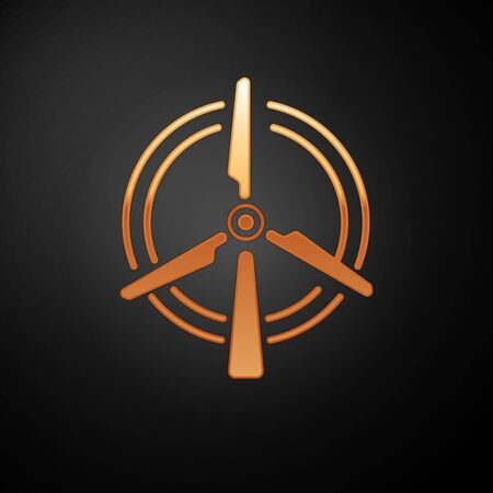 Gold Rotating wind turbine icon isolated on black background