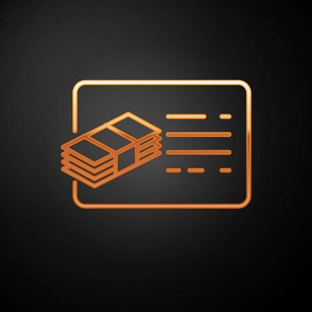 Gold Financial document line icon isolated on black background. Invoice and money icon.