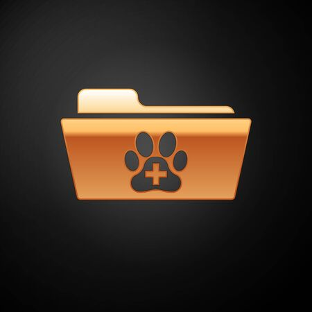 Gold Medical veterinary record folder icon isolated on black background. Dog or cat paw print. Document for pet. Patient file icon. Vector Illustration Vettoriali