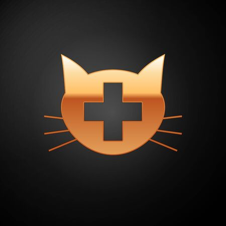 Gold Veterinary clinic symbol icon isolated on black background. Cross with cat veterinary care. Pet First Aid sign. Vector Illustration