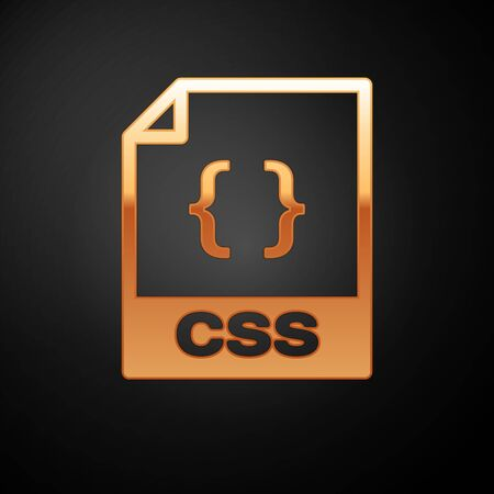 Gold CSS file document icon. Download css button icon isolated on black background. CSS file symbol. Vector Illustration Vektoros illusztráció