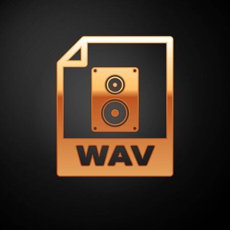Gold WAV file document icon. Download wav button icon isolated on black background. WAV waveform audio file format for digital audio riff files. Vector Illustration