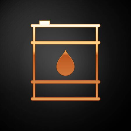 Gold Oil barrel line icon isolated on black background. Oil drum container. For infographics, fuel, industry, power, ecology. Vector Illustration