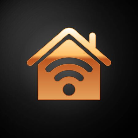Gold Smart home with wi-fi icon isolated on black background. Remote control. Vector Illustration Çizim