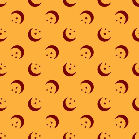 Red Moon and stars icon isolated seamless pattern on brown background. Flat design. Vector Illustration Illustration