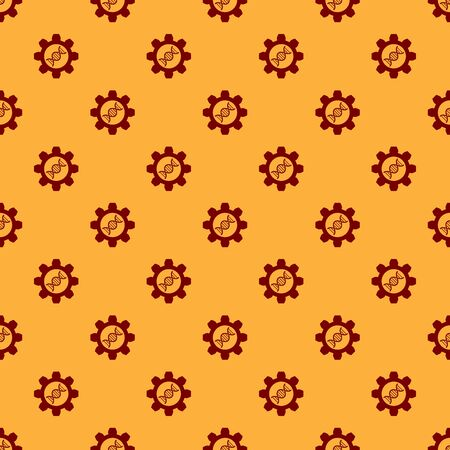 Red Genetic engineering icon isolated seamless pattern on brown background. DNA analysis, genetics testing, cloning, paternity testing. Vector Illustration Ilustração