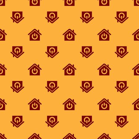 Red Smart home icon isolated seamless pattern on brown background. Remote control. Vector Illustration Çizim