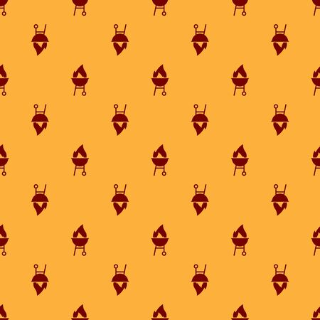 Red Barbecue grill icon isolated seamless pattern on brown background. BBQ grill party. Vector Illustration