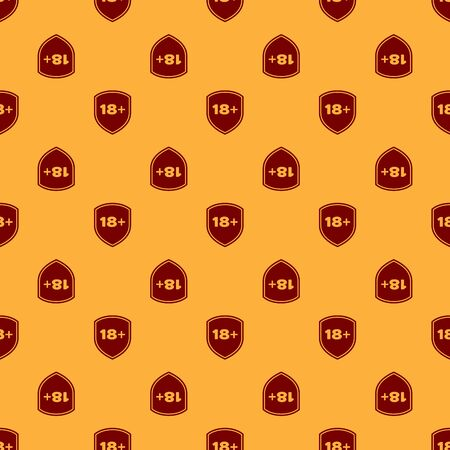 Red Shield with inscription 18 plus icon isolated seamless pattern on brown background. Adults content only. Protection, safety, security, protect concept. Vector Illustration