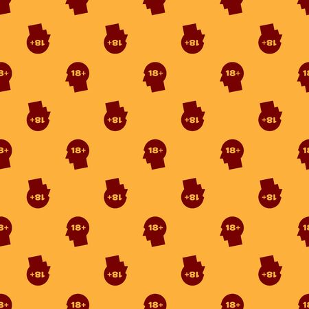 Red Human head with inscription 18 plus icon isolated seamless pattern on brown background. 18 plus content sign. Adults content only icon. Vector Illustration