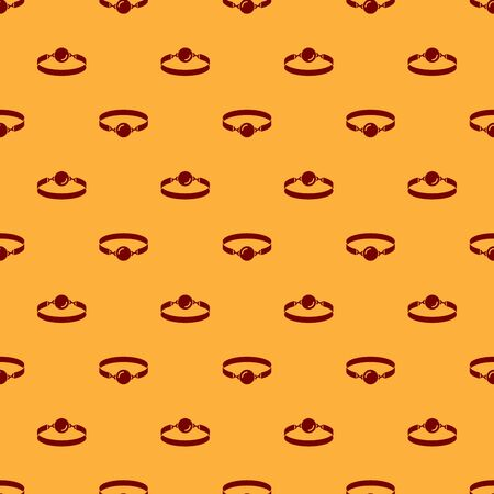 Red Silicone ball gag with a leather belt icon isolated seamless pattern on brown background. Fetish accessory. Sex toy for men and woman. Vector Illustration