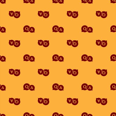 Red Speech bubbles with Question and Answer icon isolated seamless pattern on brown background. Q and A symbol. FAQ sign. Chat speech bubble and chart. Vector Illustration Illustration