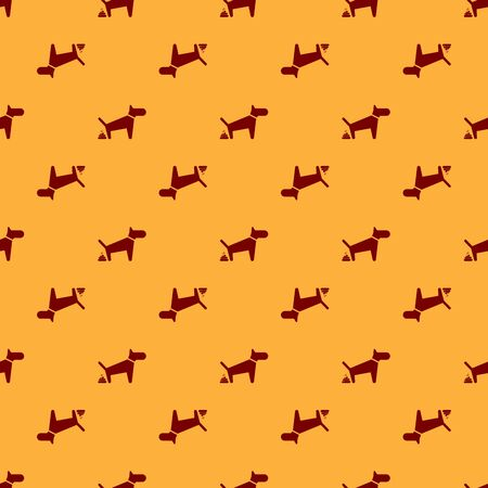 Red Dog pooping icon isolated seamless pattern on brown background. Dog goes to the toilet. Dog defecates. The concept of place for walking pets. Vector Illustration