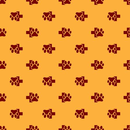 Red Veterinary clinic symbol icon isolated seamless pattern on brown background. Cross hospital sign. A stylized paw print dog or cat. Pet First Aid sign. Vector Illustration