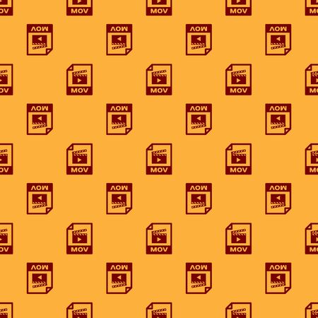Red MOV file document icon. Download mov button icon isolated seamless pattern on brown background. MOV file symbol. Audio and video collection. Vector Illustration