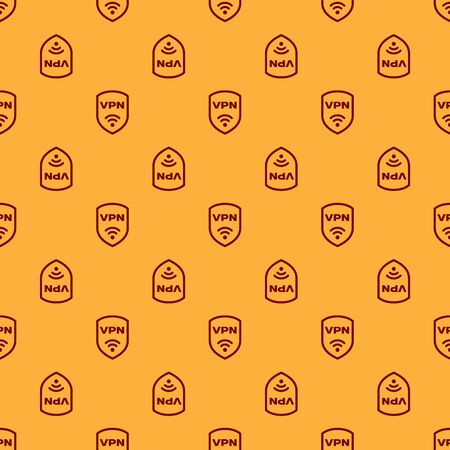 Red Shield with VPN and wifi wireless internet network symbol icon isolated seamless pattern on brown background. VPN protect safety concept. Vector Illustration