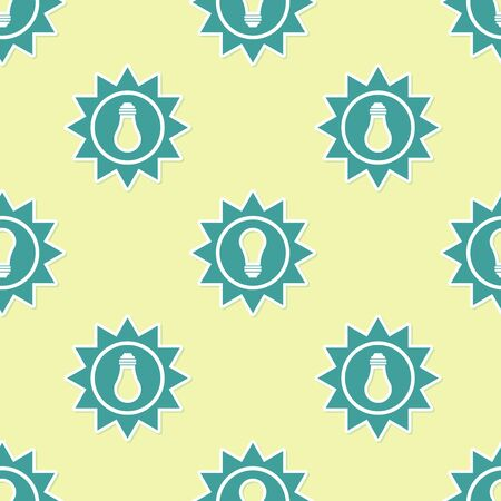 Green Solar energy panel icon isolated seamless pattern on yellow background. Sun and light bulb. Vector Illustration Vectores