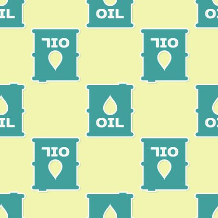 Green Oil barrel icon isolated seamless pattern on yellow background. Oil drum container. For infographics, fuel, industry, power, ecology. Vector Illustration