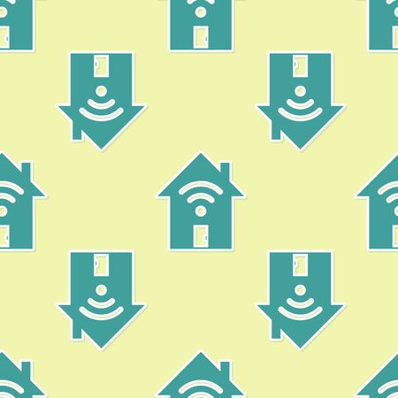 Green Smart home with wi-fi icon isolated seamless pattern on yellow background. Remote control. Vector Illustration
