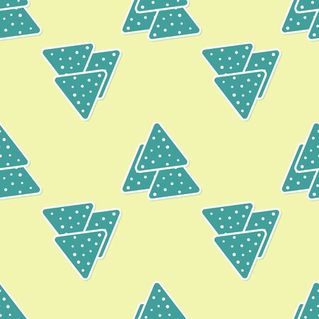 Green Nachos icon isolated seamless pattern on yellow background. Tortilla chips or nachos tortillas. Traditional mexican fast food. Vector Illustration