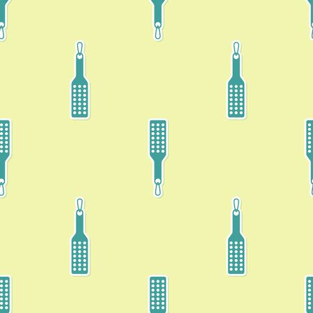 Green Spanking paddle icon isolated seamless pattern on yellow background. Fetish accessory. Sex toy for adult. Vector Illustration