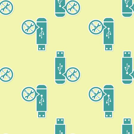 Green USB flash drive with screwdriver and wrench icon isolated seamless pattern on yellow background. Adjusting, service, setting, maintenance, repair, fixing. Vector Illustration