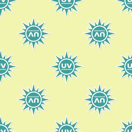Green UV protection icon isolated seamless pattern on yellow background. Ultra violet rays radiation. SPF sun sign. Flat design. Vector Illustration