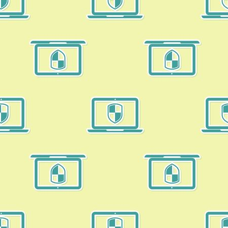 Green Laptop protected with shield symbol icon seamless pattern on yellow background. Internet security concept. PC security, firewall technology, privacy safety. Flat design. Vector Illustration