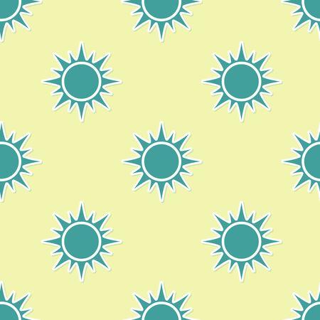 Green Sun icon isolated seamless pattern on yellow background. Flat design. Vector Illustration