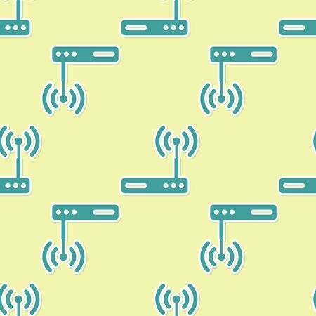 Green Router and wireless signal symbol icon isolated seamless pattern on yellow background. Wireless modem router. Computer technology internet. Flat design. Vector Illustration Illustration