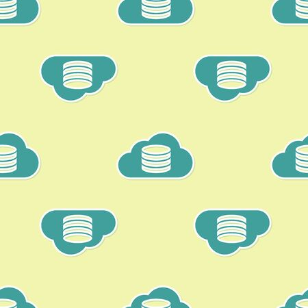 Green Cloud database icon isolated seamless pattern on yellow background. Cloud computing concept. Digital service or app with data transferring. Flat design. Vector Illustration Illusztráció