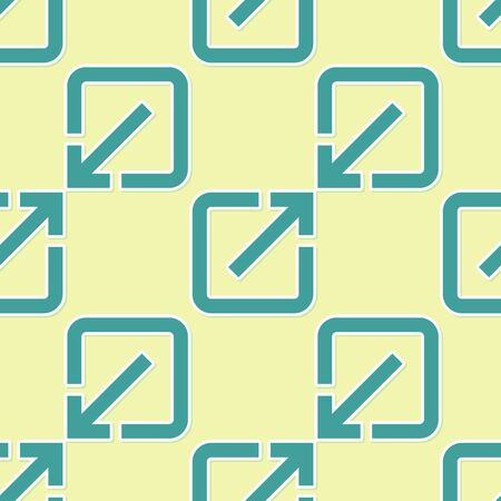 Green Open in new window icon isolated seamless pattern on yellow background. Open another tab button sign. Browser frame symbol. External link sign. Flat design. Vector Illustration