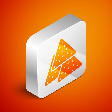 Isometric Nachos icon isolated on orange background. Tortilla chips or nachos tortillas. Traditional mexican fast food. Silver square button. Vector Illustration