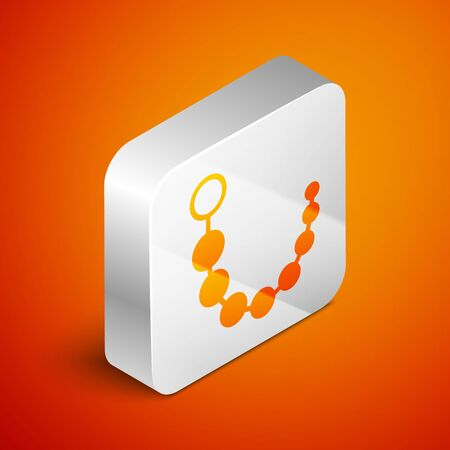 Isometric Anal beads icon isolated on orange background. Anal balls sign. Fetish accessory. Sex toy for men and woman. Silver square button. Vector Illustration Vettoriali