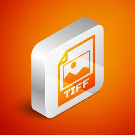 Isometric TIFF file document icon. Download tiff button icon isolated on orange background. TIFF file symbol. Silver square button. Vector Illustration