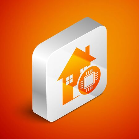 Isometric Smart home icon isolated on orange background. Remote control. Silver square button. Vector Illustration