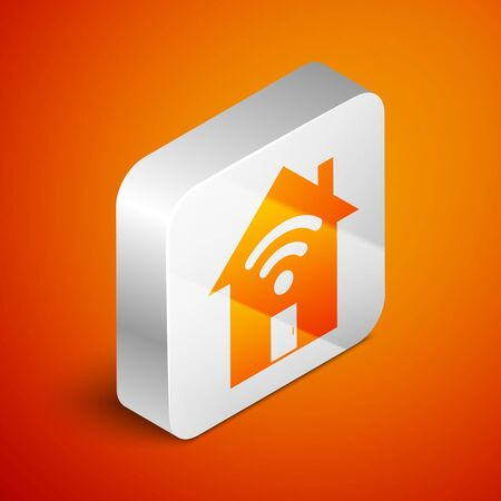 Isometric Smart home with wireless icon isolated on orange background. Remote control. Silver square button. Vector Illustration