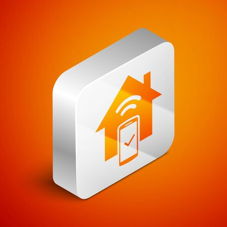 Isometric Smart home - remote control system icon isolated on orange background. Silver square button. Vector Illustration