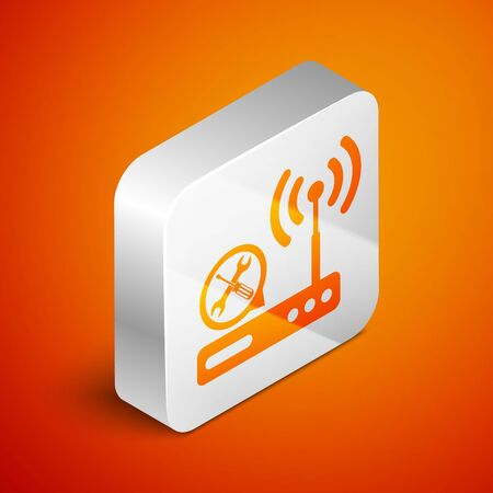 Isometric Router wireless with screwdriver and wrench icon isolated on orange background. Adjusting, service, setting, maintenance, repair, fixing. Silver square button. Vector Illustration