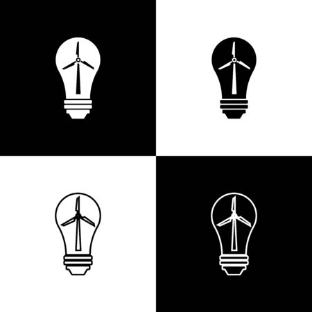 Set Light bulb with wind turbine as idea of eco friendly source of energy icons isolated on black and white background. Alternative energy concept. Vector Illustration Vettoriali