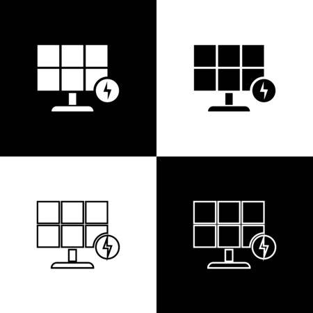 Set Solar energy panel icons isolated on black and white background. Vector Illustration  イラスト・ベクター素材